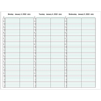 2022 Medical Arts Press® 8 1/2 x 11 2 Column Weekly Appointment Log, Black Cover