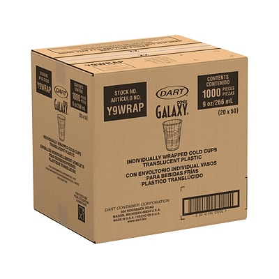 Dart Conex Galaxy Individually Wrapped Polystyrene Cold Cup, 9 Oz., Translucent, 1000/Carton (Y9WRAP)