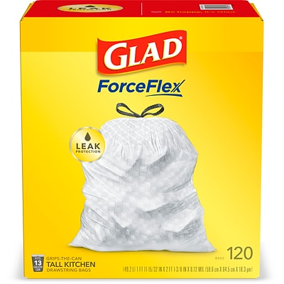 Glad Drawstring, 13 Gallon Tall Kitchen Trash Bags, White, 120 Bags/Box (78555)
