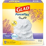 Glad OdorShield Febreze 13 gal. Tall Kitchen Trash Bags, .72 mil., 25.75 x 11.75, White, 110/Box (