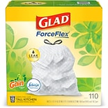 Glad OdorShield Gain with Febreze 13 Gal. Tall Kitchen Trash Bags, .72 mil., White, 110/Box (79098)