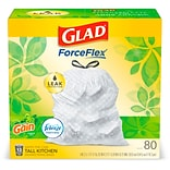 Glad OdorShield 13 Gallon Drawstring Trash Bags, Original Gain, .72 mil, 23.74 x 25.4, White, 80 Bag