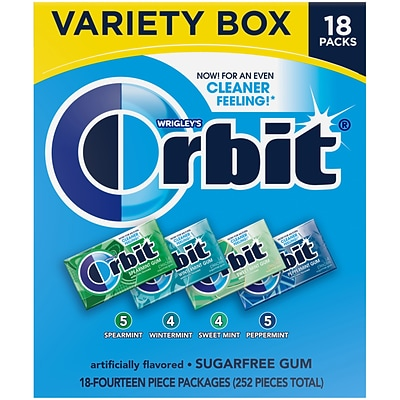 Orbit Sugar Free Gum, Variety Pack, 18/Box (220-00568)
