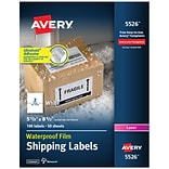 Avery Waterproof Laser Shipping Labels with Ultrahold Permanent Adhesive, 5-1/2 x 8-1/2, 2 Labels/