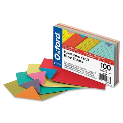 Staples Heavyweight Ruled 3 x 5 Index Cards, Extreme Colors, 100/Pack (OFX04736)