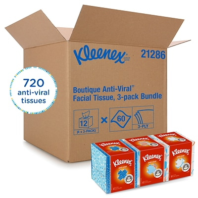 Kleenex Antiviral Facial Tissue, 3-Ply, 60 Sheets/Box, 12/Carton (21286CT)