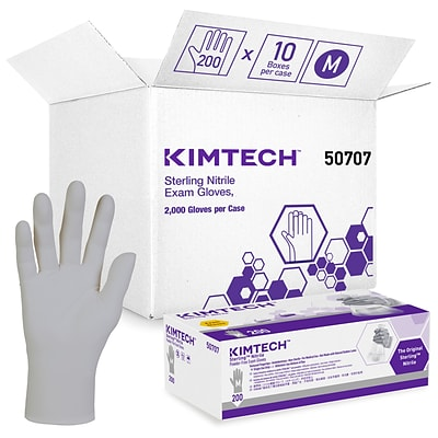 Kimberly-Clark Professional Sterling Powder Free Nitrile Gloves, Silver, Medium, 200/Bx (KCC 50707)