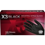 X3 Powder Free Black Nitrile Rubber Gloves, Large, 100/Box (BX346100)