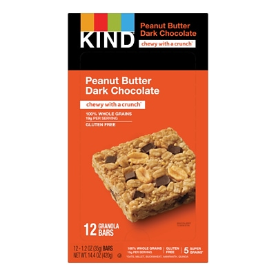 KIND Bar, Healthy Grains, Dark Chocolate Peanut Butter, 1.2 Oz., 12/Box (PHW18083)