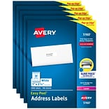 Avery Easy Peel Laser Address Labels, 1 x 2 5/8, White, 30/Sheet, 100 Sheets/Pack, 5 Packs/Carton