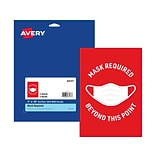 Avery Safety Wall Sign, 7 x 10, Red/White, 5/Pack (83177)