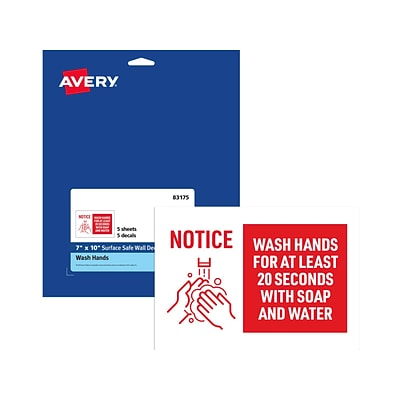 Avery Wash Hands Wall Sign, 10 x 7, White/Red, 5/Pack (83175)