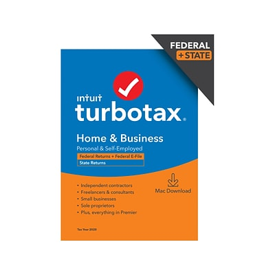 TurboTax Home & Business 2020 Federal and State for 1 User, macOS, Download (0608699)