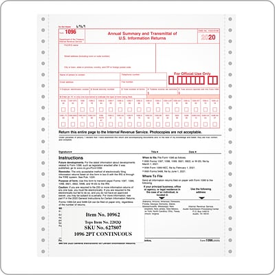 TOPS 2020 1096 Tax Forms, 2-Part Continuous Feed Sets, 10/Pack (2202Q)