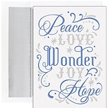 JAM PAPER Christmas Cards & Matching Envelopes Set, 7 6/7 x 5 5/8, Love Wonder Joy, 16/Pack (52694