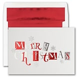 JAM PAPER Blank Christmas Cards & Matching Envelopes Set, Merry Christmas Typography, 25/Pack (526M1