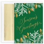 JAM PAPER Christmas Cards & Matching Envelopes Set, 7 6/7 x 5 5/8, Greenery Greetings, 16/Pack (52