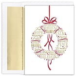 JAM PAPER Christmas Cards & Matching Envelopes Set, 7 6/7 x 5 5/8, Holiday Wishes Wreath, 16/Pack