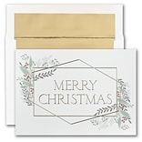 JAM PAPER Blank Christmas Cards & Matching Envelopes Set, Christmas Greenery, 25/Pack (526M1901WB)