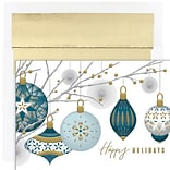 JAM PAPER Christmas Cards & Matching Envelopes Set, 7 6/7 x 5 5/8, Silver & Gold Baubles, 16/Pack