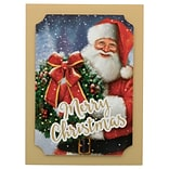 JAM PAPER Handmade Christmas Cards & Matching Envelopes Set, Classic Merry Santa w/ Wreath, 12 Cards
