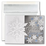JAM PAPER Blank Christmas Cards & Matching Envelopes Set, Snowflake Gatefold, 25/Pack (526M1271WB)