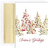 JAM PAPER Christmas Cards & Matching Envelopes Set, 7 6/7 x 5 5/8, Gold & Red Treeline, 16/Pack (5