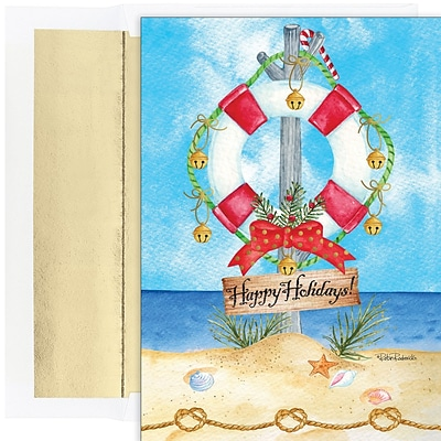 JAM PAPER Christmas Cards & Matching Envelopes Set, 7 6/7 x 5 5/8, Preserve the Holidays, 18/Pack (526941000)