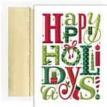 JAM PAPER Christmas Cards & Matching Envelopes Set, 7 6/7 x 5 5/8, Happy Everything Holidays, 18/P