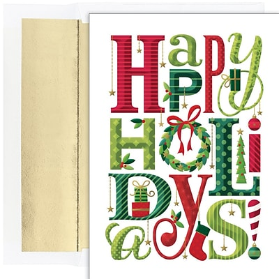 JAM PAPER Christmas Cards & Matching Envelopes Set, 7 6/7 x 5 5/8, Happy Everything Holidays, 18/Pack (526936300)