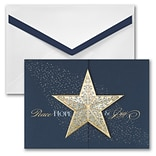 JAM PAPER Blank Christmas Cards & Matching Envelopes Set, Star Gatefold, 25/Pack (526M0977WB)