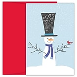 JAM PAPER Christmas Cards & Matching Envelopes Set, 7 6/7 x 5 5/8, Top Hat Snowman, 18/Pack (52694