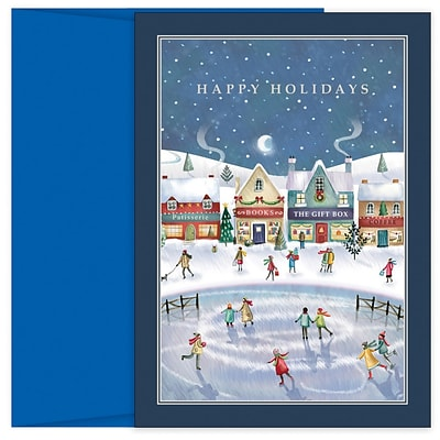 JAM PAPER Christmas Cards & Matching Envelopes Set, 7 6/7 x 5 5/8, Holiday Village, 18/Pack (526938600)