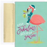 JAM PAPER Christmas Cards & Matching Envelopes Set, 7 6/7 x 5 5/8, Fabulous Flamingos, 18/Pack (52