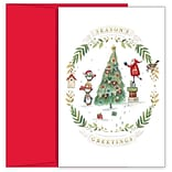 JAM PAPER Christmas Cards & Matching Envelopes Set, 7 6/7 x 5 5/8, Santas Helpers, 18/Pack (52693