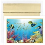 JAM PAPER Christmas Cards & Matching Envelopes Set, 7 6/7 x 5 5/8, Warmest Wishes Fishes, 18/Pack