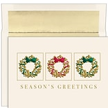 JAM PAPER Christmas Cards & Matching Envelopes Set, 7 6/7 x 5 5/8, Gold Wreath Trio, 16/Pack (5269