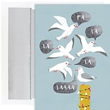 JAM PAPER Christmas Cards & Matching Envelopes Set, 7 6/7 x 5 5/8, Segulls Fa La La, 18/Pack (5269