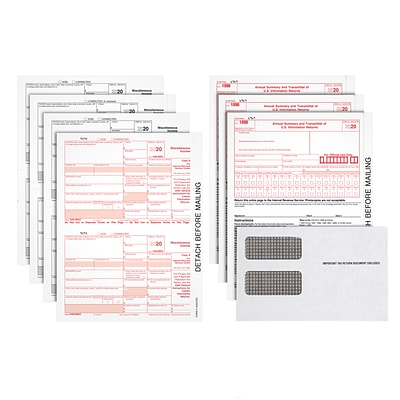 TOPS 2020 1099-MISC Tax Forms Kit, White, Includes 4-Part Laser Sets, 1096 Forms and Self Seal Envelopes, 25/Pack (LMISC413)