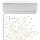 JAM PAPER Christmas Cards & Matching Envelopes Set, 7 6/7 x 5 5/8, Glittering Snowflake, 16/Pack (