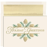 JAM PAPER Christmas Cards & Matching Envelopes Set, 7 6/7 x 5 5/8, Golden Pinecones, 16/Pack (5269