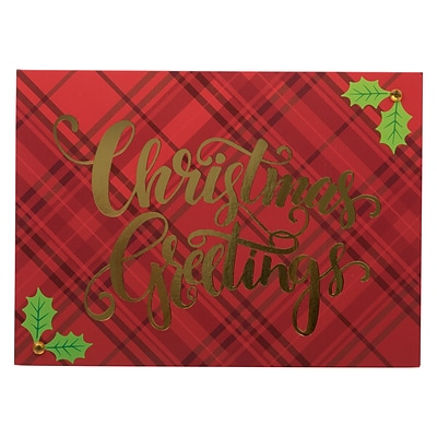 JAM PAPER Handmade Christmas Cards & Matching Envelopes Set, Plaid & Holly Christmas Greetings, 12 Cards/Pack (JAM3IG105695)