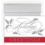 JAM PAPER Christmas Cards & Matching Envelopes Set, 7 6/7 x 5 5/8, Silver Swirl Holiday, 16/Pack (