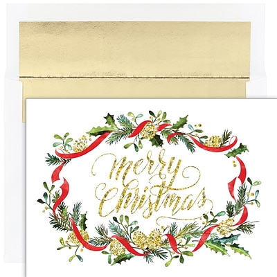 JAM PAPER Christmas Cards & Matching Envelopes Set, 7 6/7 x 5 5/8, Merry Pines, 16/Pack (526940200)