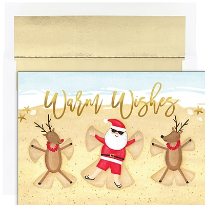 JAM PAPER Christmas Cards & Matching Envelopes Set, 7 6/7 x 5 5/8, Beach Angels, 18/Pack (526941100)