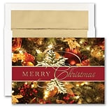 JAM PAPER Blank Christmas Cards & Matching Envelopes Set, Merry Christmas Greens, 25/Pack (526M1502W