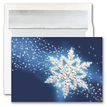 JAM PAPER Blank Christmas Cards & Matching Envelopes Set, Single Snowflake, 25/Pack (526M1587WB)