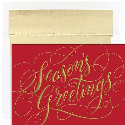 JAM PAPER Christmas Cards & Matching Envelopes Set, 7 6/7 x 5 5/8, Seasons Greetings Sparkle, 16/Pack (526941300)