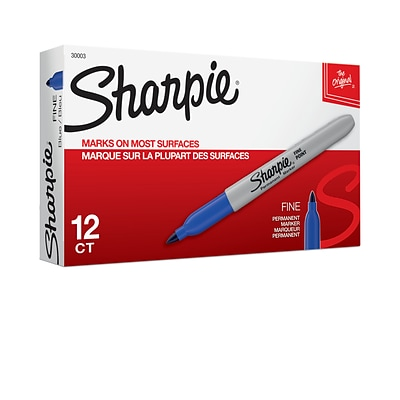Sharpie Permanent Markers, Fine Point, Blue, 12/Pack (30003)