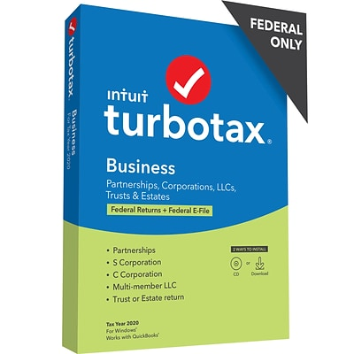TurboTax Desktop Business 2020 Federal Only for 1 User, Windows, CD/Download (608665)